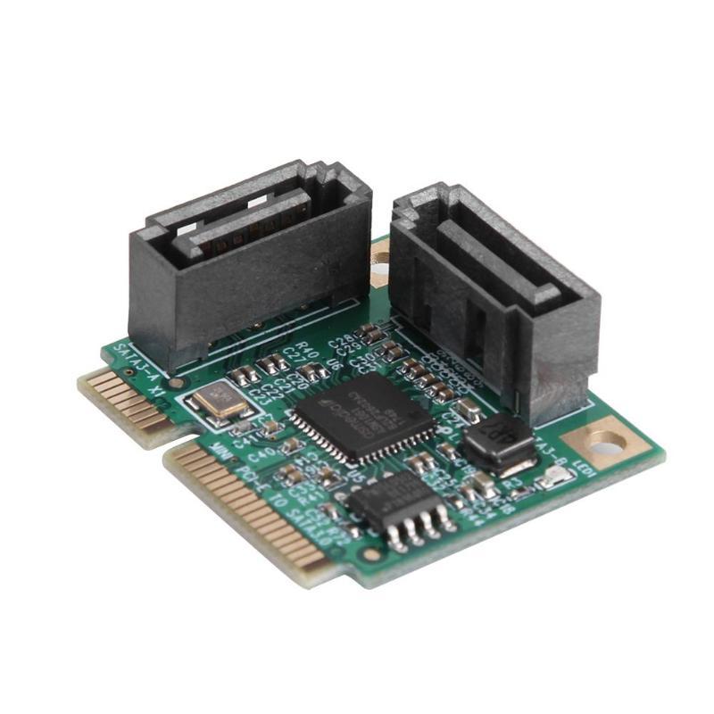 2 porte Mini PCI-E PCI Express a SATA 3.0 Hard Drive Scheda di Estensione con Cavo SATA per il Calcolatore Del PC schede e Slot di Espansione