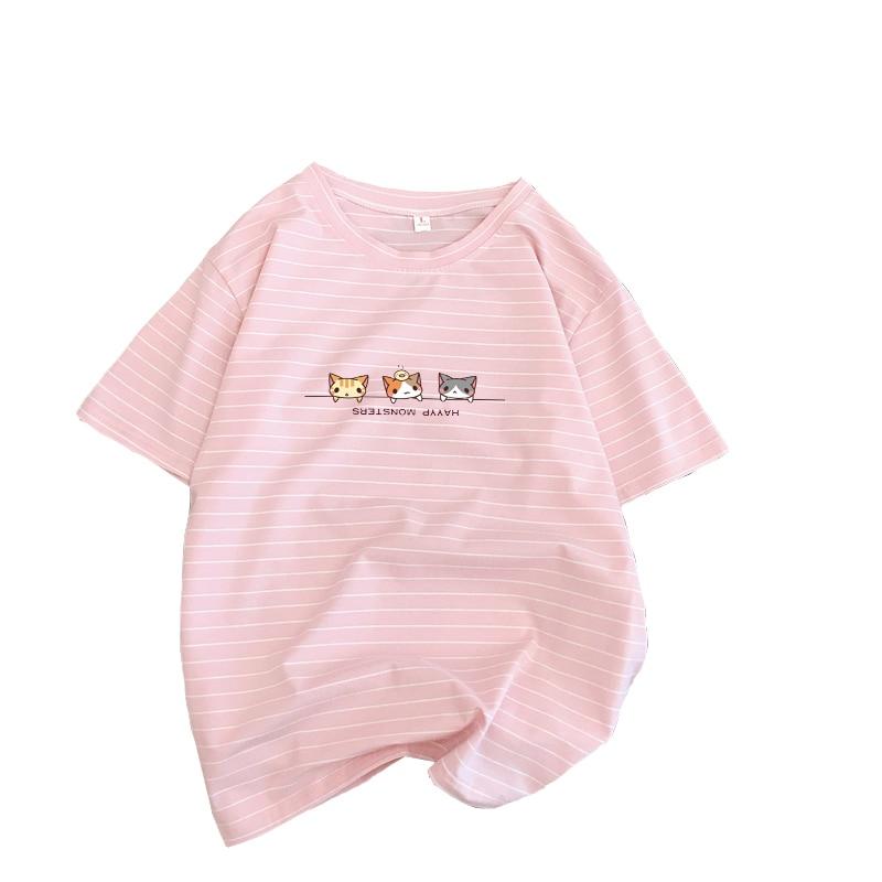 Gato gatinhos camiseta feminina algodão casual kawaii listras t camisa roupas coreanas listrado steetwear moda vintage