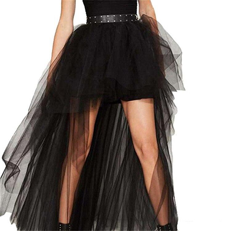 Parte delantera corta de tul de espalda larga de 4 colores crinolina mujeres falda vestido Vintage falda tutú para fiesta de baile Lolita enagua