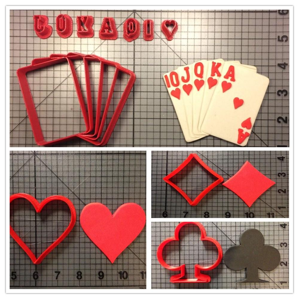 Poker Club Diamond Heart Flush Carde Cookie Cutter Set Custom Made 3D Printed Fondant Cupcake Top Moulds Cake Decoration Tool