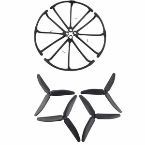 RC accessories 4PCS 3-leaf Blades & 4PCS propeller protective cover for Hubsan X4 H502S H502E H502T H507A H216A Airplane-Black
