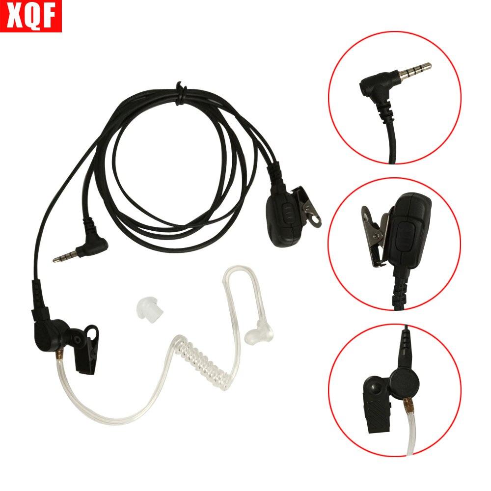 Xqf walkie talkie fone de ouvido microfone ptt para yaesu vertex 3.5mm 1-pino presunto rádio hf transceptor com tubo acústico