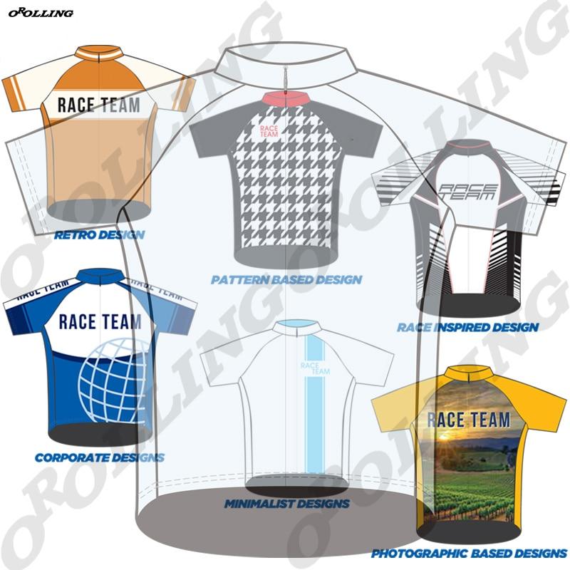 Diseño personalizado estilo nuevo Pro equipo ciclismo Jersey Road Mountain Race Tops clásico OROLLING
