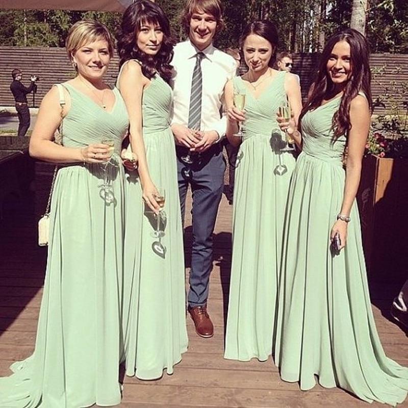 2019 Ruffles Empire Strapless Sweetheart Mint Train Long Chiffon Bridesmaid Dress Prom Formal Dress