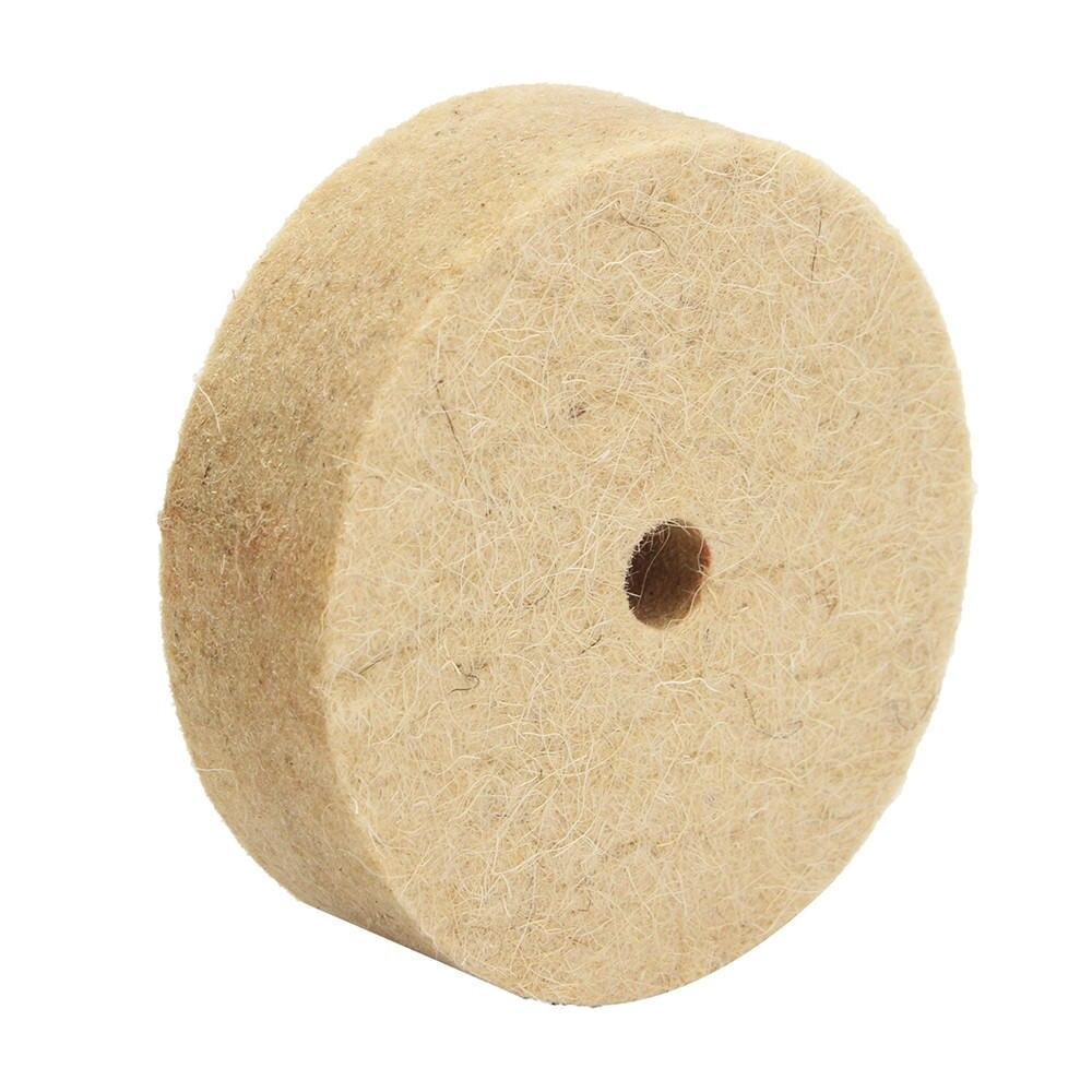 1Pc 3Inch Beige Polishing Buffing Grinding Wheel Wool Felt Polisher Disc Pad 10mmx22mm Polisher Pads 3 Inch
