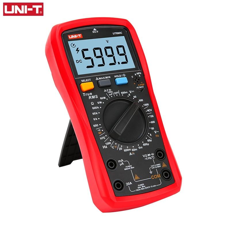 UNI-T UNI T Digital Multimeter True RMS UT890C UT890D+ Manual Range AC DC Frequency Capacitance Temperature Tester Backlight