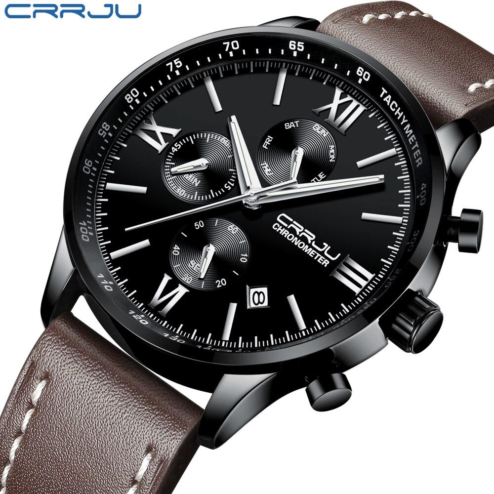 Marca de Luxo Homens de Couro Crju e Calendário Relógio de Pulso para Homem Mens Relógios Relógio Cronógrafo Quartz Masculino Montre Homme Top