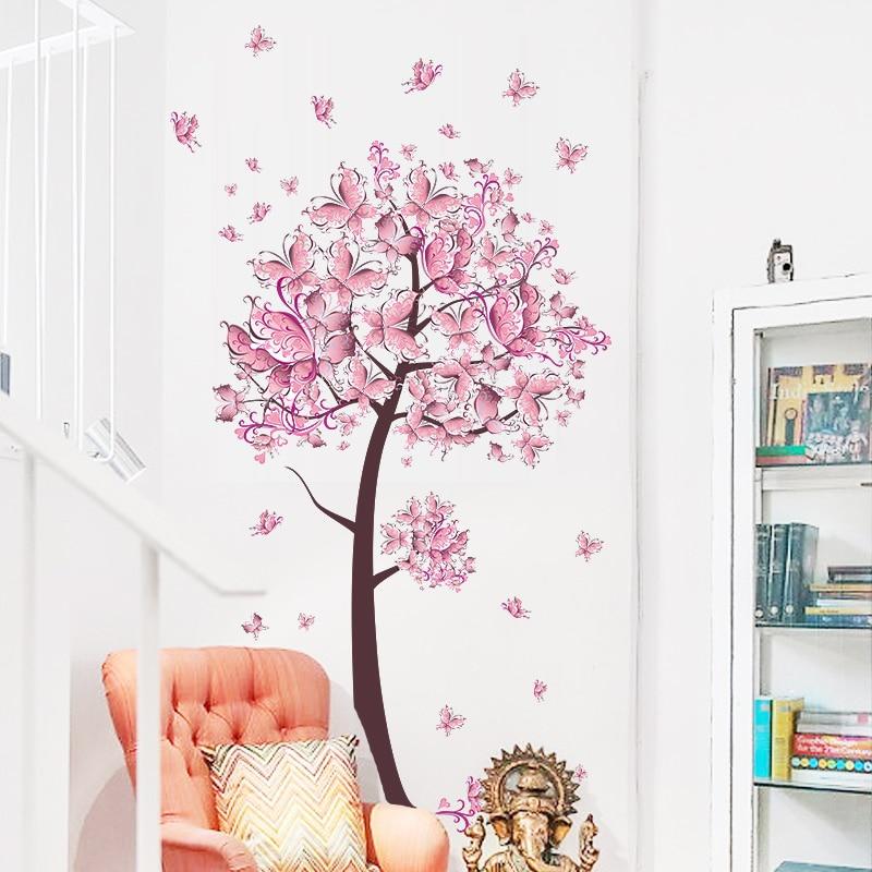 % Rosa borboleta flor árvore adesivos de parede decalques meninas mulheres flor mural vinil papel de parede casa sala estar quarto decoração