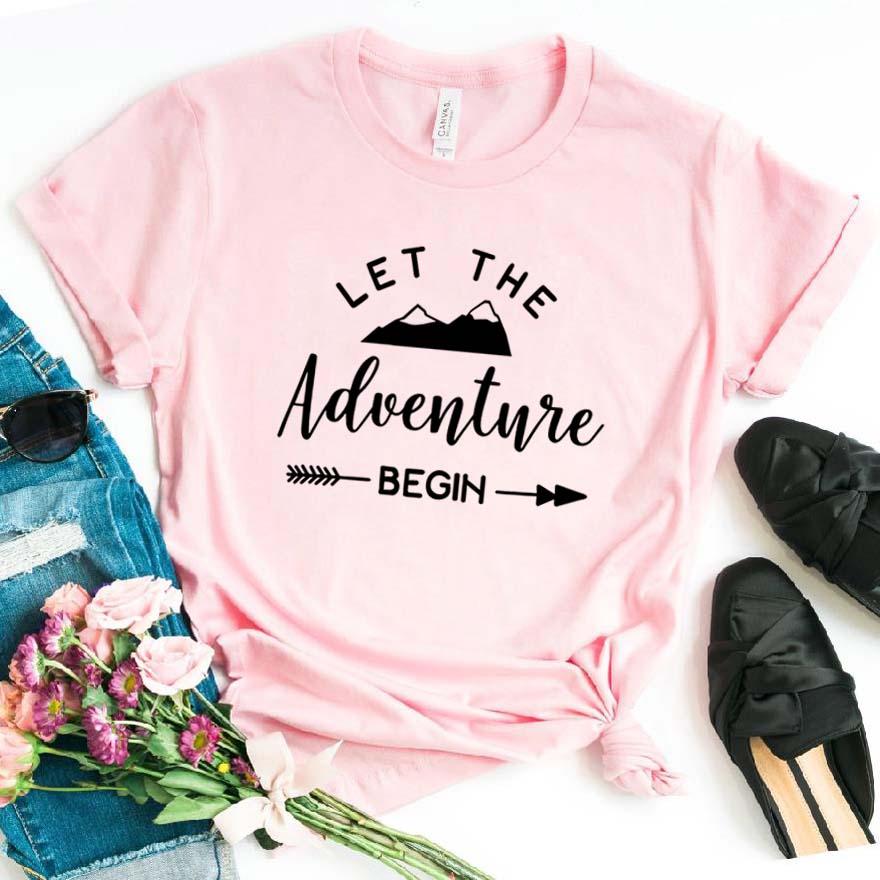 Deja que la aventura empiece a imprimir Camiseta de algodón Casual divertida camiseta para señora chica Top Tee Hipster Drop Ship NA-172