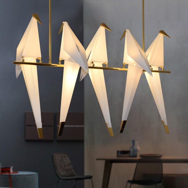 Lámpara colgante de jaula de pájaro de oro para sala de estar dormitorio origami bird light cocina comedor CASA DE PAPEL colgante accesorios de iluminación