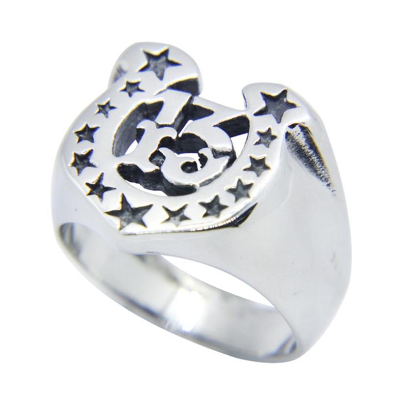 1 unidad más reciente Cool Stars Lucky 13 anillo 316L Acero inoxidable hombres Tamaño 7-13 anillo de estilo motociclista
