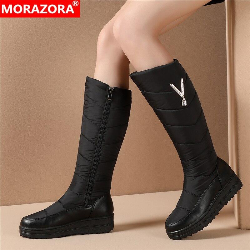 MORAZORA 2021 روسيا جديد وصول الشتاء الثلوج أحذية النساء الدفء الكريستال سستة أحذية منصة مسطحة امرأة حذاء برقبة للركبة