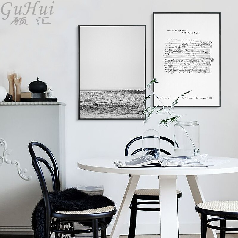 Bosque nórdico paisaje Chopin manuscrito vals Minuto de póster con impresión estilo cuadro pared imagen casa habitación Decoración