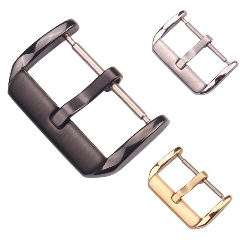 Venta al por mayor, 20 uds, hebilla de correa de reloj de acero inoxidable, cierre de correa cepillado medio, accesorios de reloj negro dorado plateado, 16 18 20 22mm
