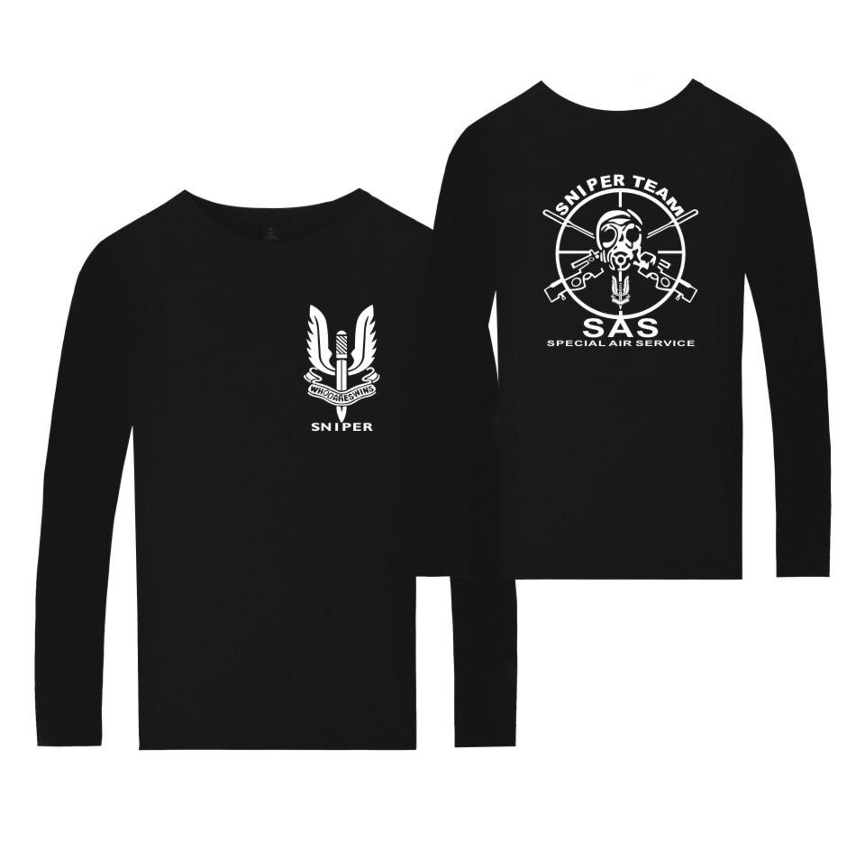 Exército britânico Special Air Service SAS SAS insignia Homens Tshirt camiseta de Algodão Casuais ATIRADOR EQUIPE T-shirt de Manga Comprida