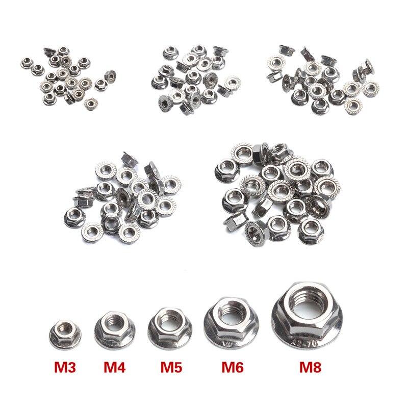 20Pcs M3 M4 M5 M6 M8 DIN6923 304 Edelstahl Hexagon Flansch Muttern Anti Slip Lock Mutter-Set
