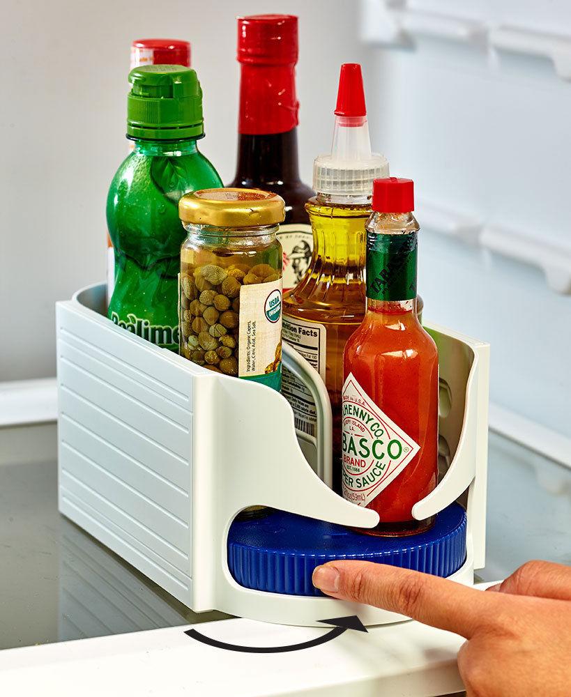 New Double Roller Rotating Storage Box Bathroom Multi-function Rack Roto Caddy Swivel Organizer Kitchen Racks