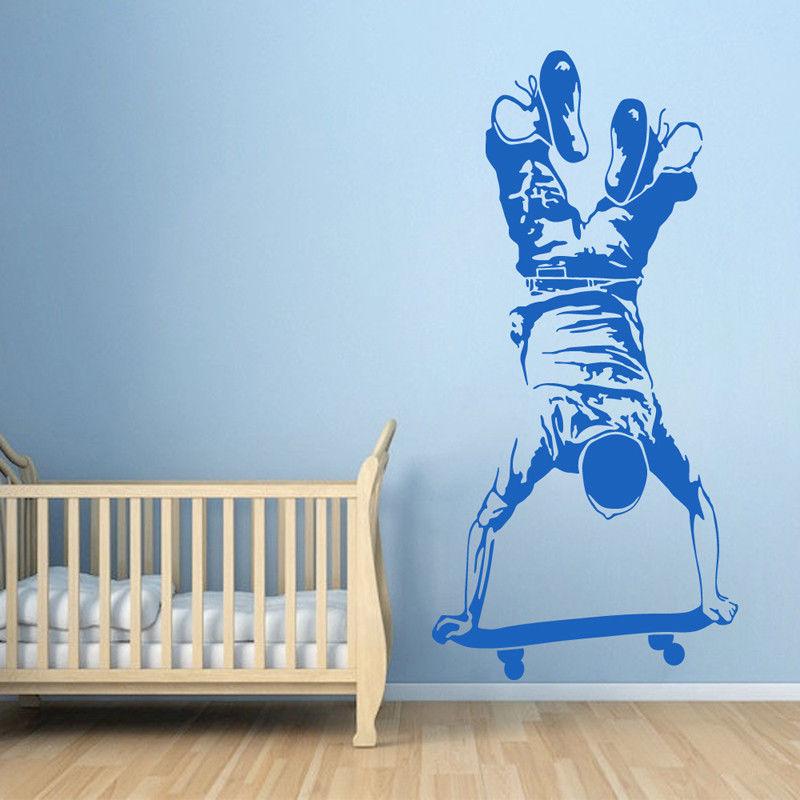 Pegatina de pared Skater Boy para monopatín, pegatina de pared de vinilo para niños, dormitorio de chicos, deportes extremos, papel tapiz de pared de monopatín Z054