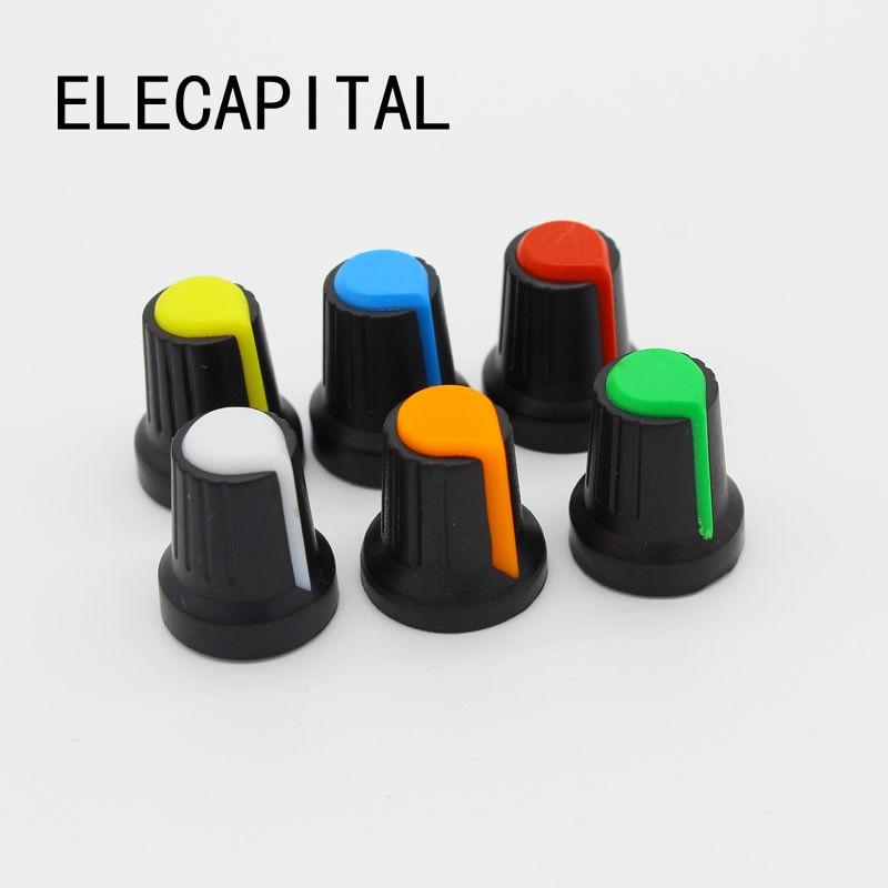 12pcs Potentiometer knob switch cap (peach heart button A variety of colors) diameter 6 mm diameter 15 mm * 17 mm high