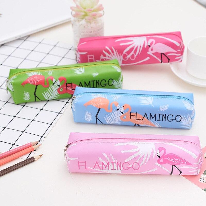 Estuche de lápices de unicornio, estuche escolar de flamenco, suministros escolares Kawaii, caja de lápices de lápiz de estojo, escola, kalem kutusu