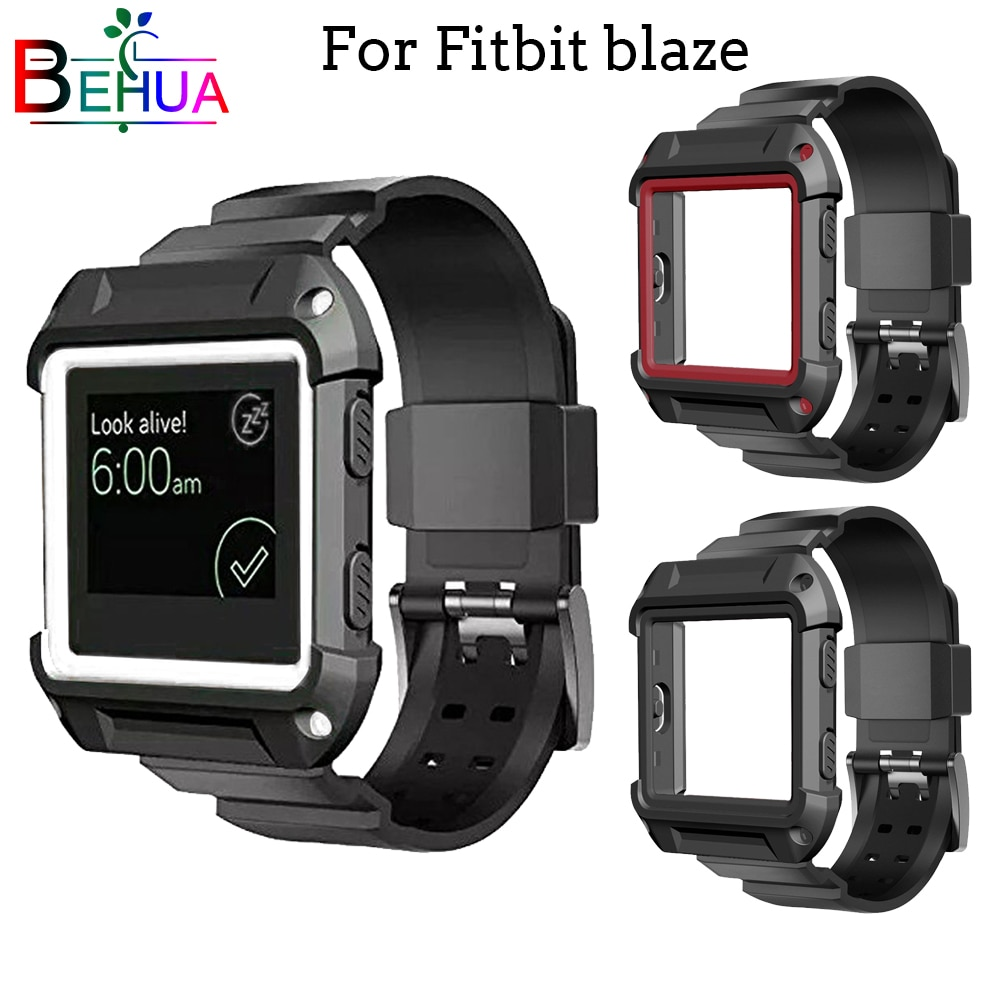 2in1 Silicone Strap + Case Cover frame watchbands for Fitbit Blaze smart watch band Sports outdoor Strap Replacement watchband men and women sport casual edition soft silicon rubber sports watch band wrist strap for fitbit blaze with metal buckle frame