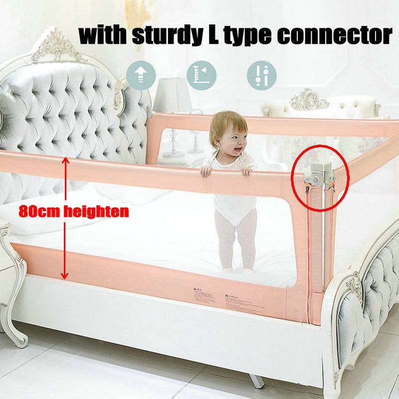 Mesh Around Toddlers Bed Safety Barrier, New 80cm Heighten Crib Guard for Kids, Fence Can Fall Down Vertically