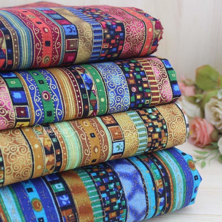 Экзотическое очаровательное хлопковое льняное одеяло с бронзовой полосой в японском стиле 4 в ассортименте, Очаровательная ткань для одежды, четверть 50 см x 70 см, материал ручной работы