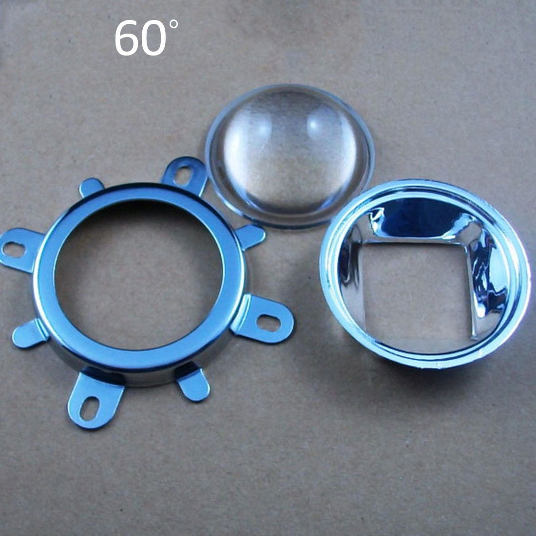 1 Juego de lente LED de 20W 30W 50W 70W 100W 120W 44mm + colimador reflector de 50mm + soporte fijo