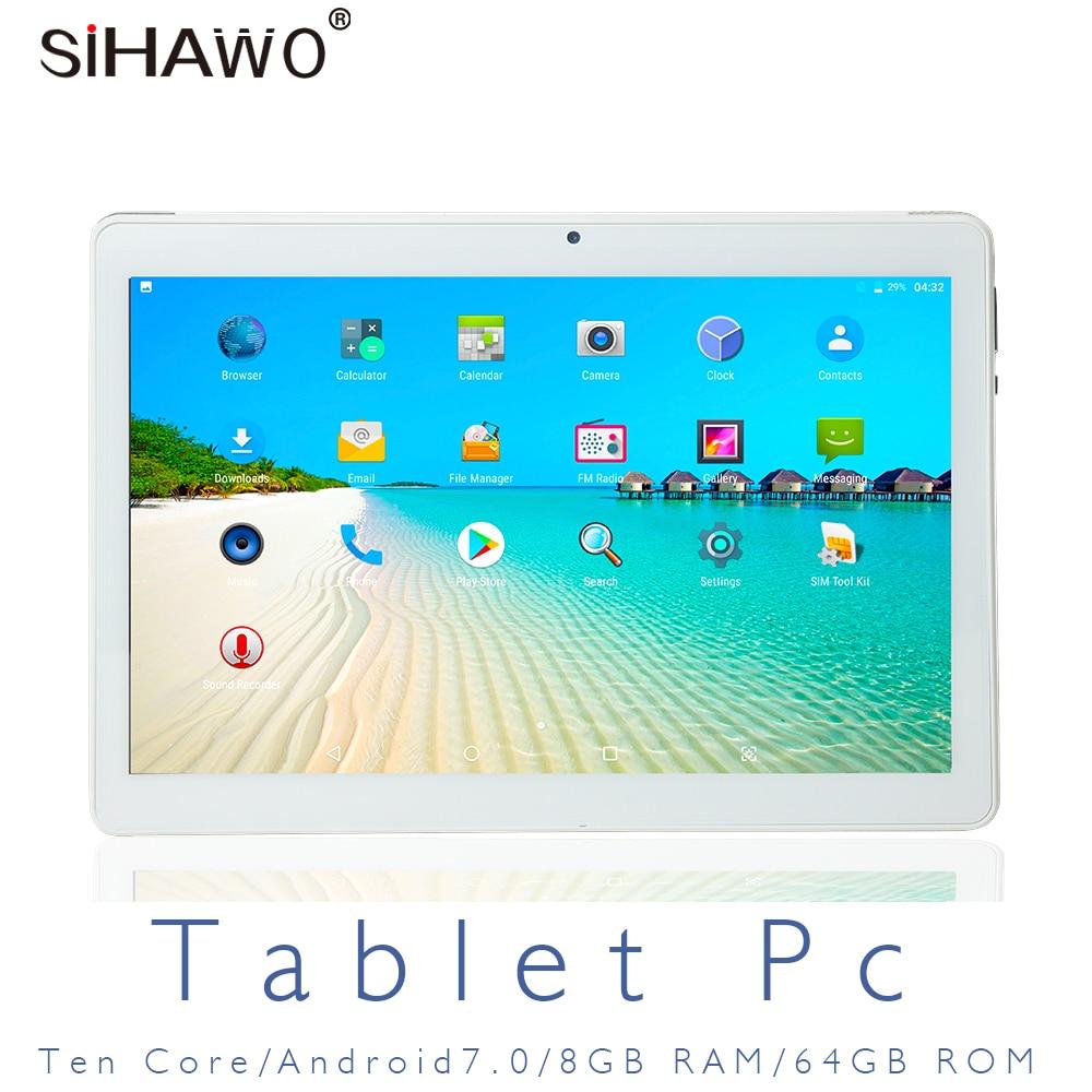 SIHAWO 10.1 Inch Dual SIM 4G Phone Call OTG 10 Core 8GB RAM 64GB ROM Android 8.0 Tablet pc FM WiFi Bluetooth GPS Tablet Tablets