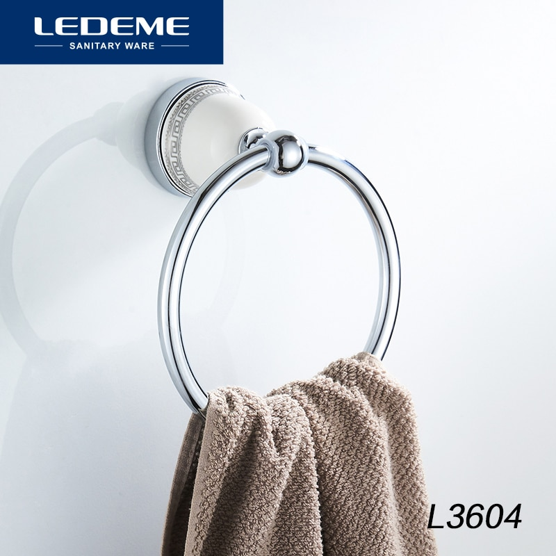 LEDEME Round Style Wall-Mounted Towel Ring Holder Hanger Bathroom Aluminum Chrome Plated Ceramic Base Bath Hardware L3604