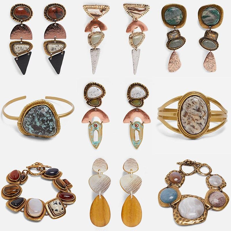 Miwens 2019 Za Newest Metal Stone Drop Earrings Women Big Long Vintage Ethnic Bohemia Trendy Earring Factory Jewelry Bijoux A790
