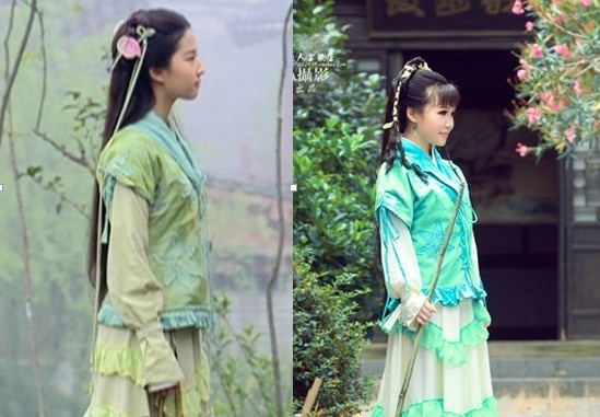 3 designs TV Play Legend of Fairy Sword Green Hanfu Costume Actress Liu Yifei Zhao LingEr Green Costume Swordlady Costume