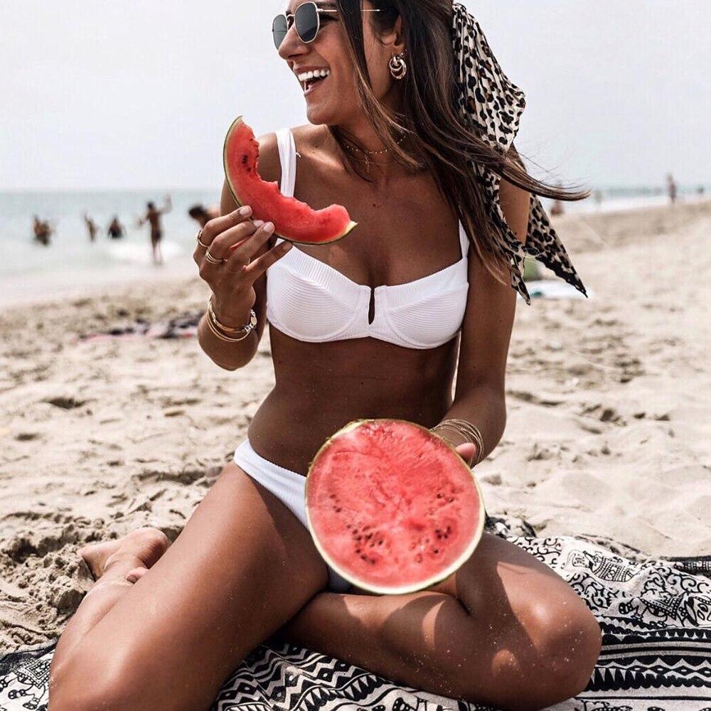 Underwire bikini 2018 V top Swimsuit Women Sexy Red White swimwear Ribbed bikini set Push Up bathing suit Mujer Bather biquini