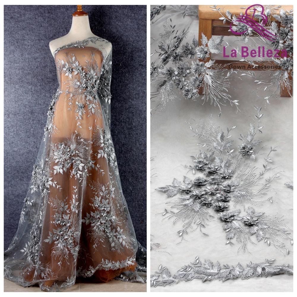 La Belleza-robe de soirée en dentelle   Nouveau design, tissu de dentelle, gris argenté, fleurs 3D, beige, fleurs 3D, 1 cour