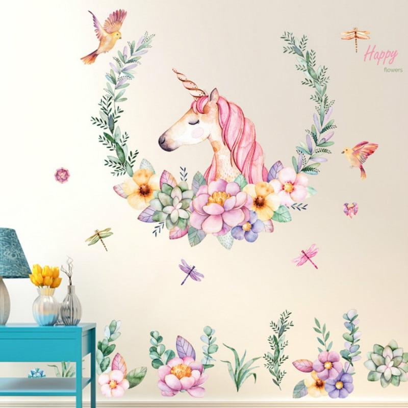 Hehepopo 80cm Big Size Cartoon Unicorn Sitcker Children's Room Wall Decoration Stickers Unicorn Flower Decoration Stickers