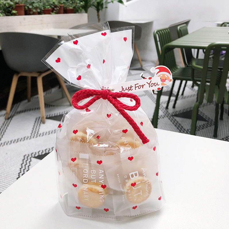 Gift Bags 50Pcs Flat Pocket Plastic Cookie Packaging Bag 15*24cm Wedding Party Heart Biscuits Bag Ho