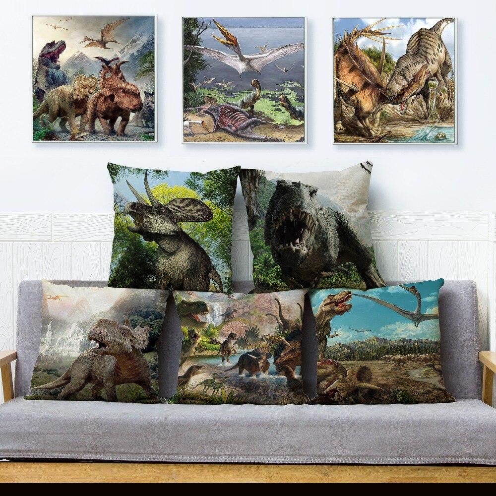 Cartoon Jurassic Tier Dinosaurier Muster Leinen Kissen Abdeckung 45*45 cm Auto Kissen Fall Sofa Wohnzimmer Gedruckt Kissenbezüge