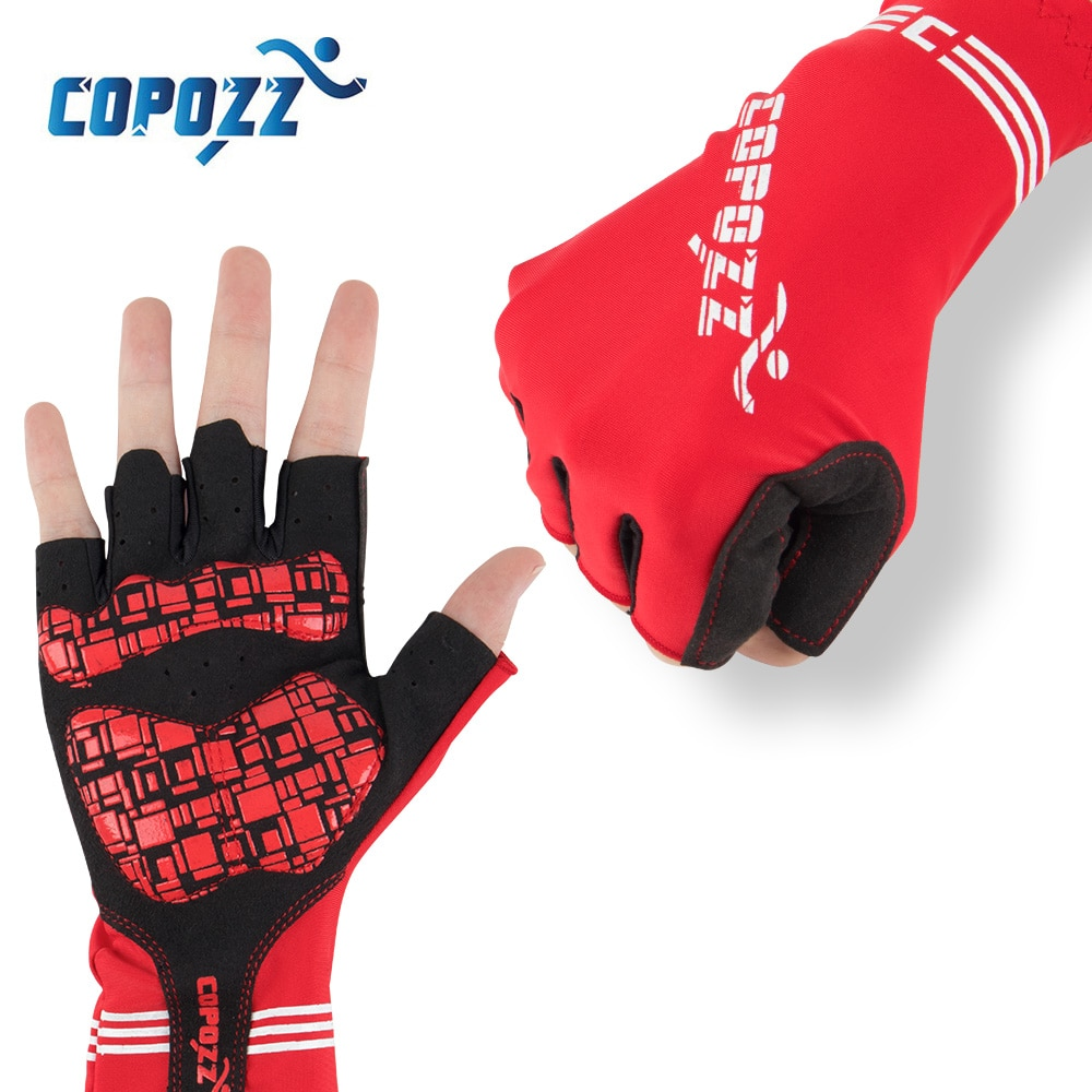 COPOZZ Anti Slip Reiten Fahrrad Handschuhe Gel Pad Kurze Half Finger Radfahren Handschuhe Atmungsaktive Outdoor Sport Männer MTB Fahrräder Handschuhe