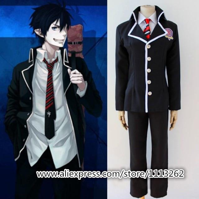 Exorcista Ao No exorcista Cosplay uniformes escolares de dibujos animados chaqueta de Anime para hombres + Pantalones + corbata + oreja + Camiseta
