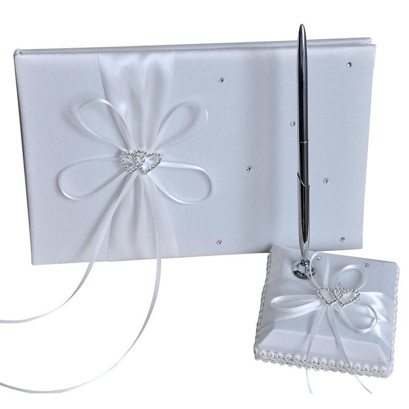 De alta calidad de satén de boda, libro de firmas de invitados 25x16cm corazón doble comunión regalos Souvenirs con decoración de diamantes de imitación suministros