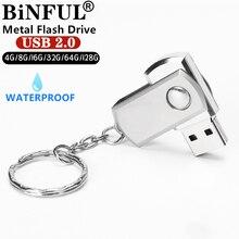 BiNFUL impermeable Metal girar usb flash drive 8gb 16gb 32gb 64gb 128gb en plata/oro/Rosa pendrive con memoria USB 2,0 disco de U