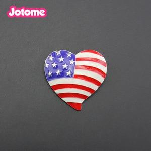 10pcs/lot free shipping heart shape American flag brooch