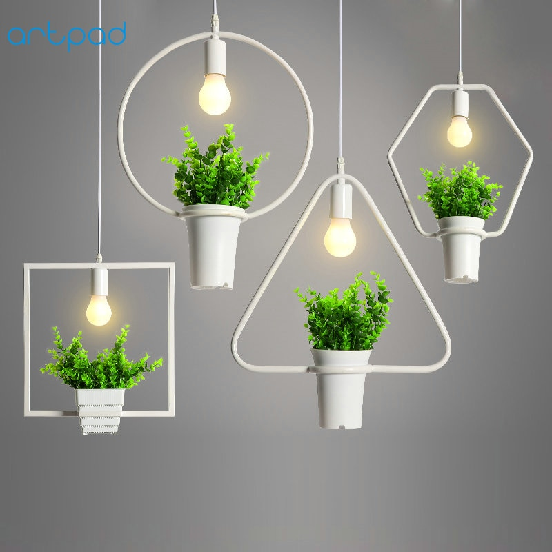 Artpad Countryside Green Plant Iron Pendant Light Black White Living Room Bar Restaurant Creative Decor Hanging Pendant Lamp E27