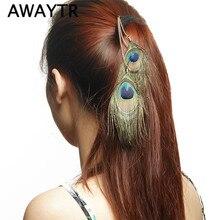Nuevo Clip de plumas de pavo real para Festival de mujeres, extensiones de cabello, plumas para el cabello a la moda, pieza de cabeza de plumas de Cheveux