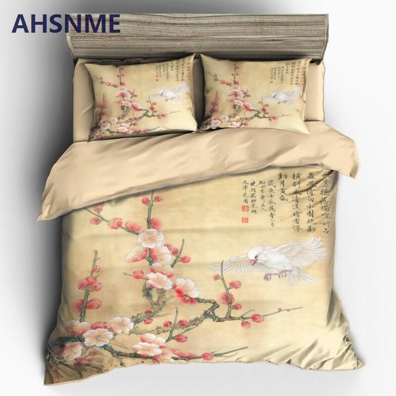 AHSNME الصينية الحبر اللوحة الربيع البرقوق غطاء لحاف مجموعات 100% ستوكات الفراش مجموعة 3 قطعة