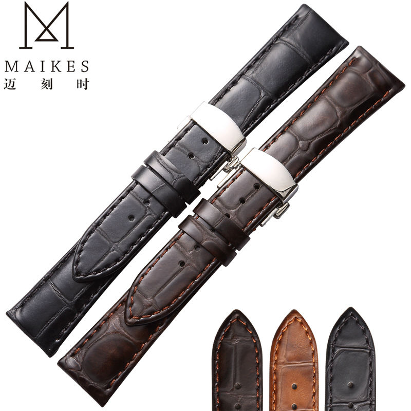 Maikes جلد طبيعي 22 ملليمتر 20 ملليمتر المصنع مباشرة بيع فراشة مشبك العجل جلدية ووتش الشريط ل ميدو