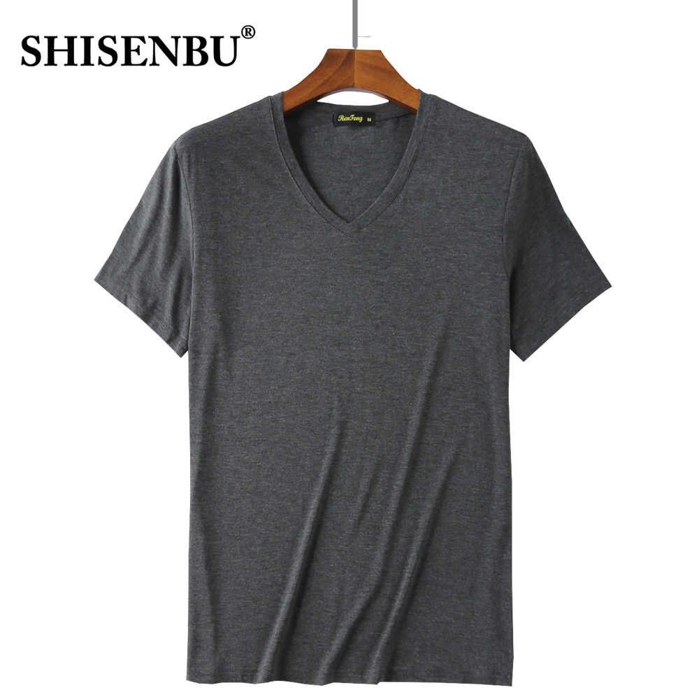 Camiseta Informal Con Cuello En V Para Hombre Camisetas Holgadas De Manga Corta Cómodas De Fibra De Bambú Para Fitness Color Rosa Y Negro Moda De Verano 95 Camisetas Aliexpress
