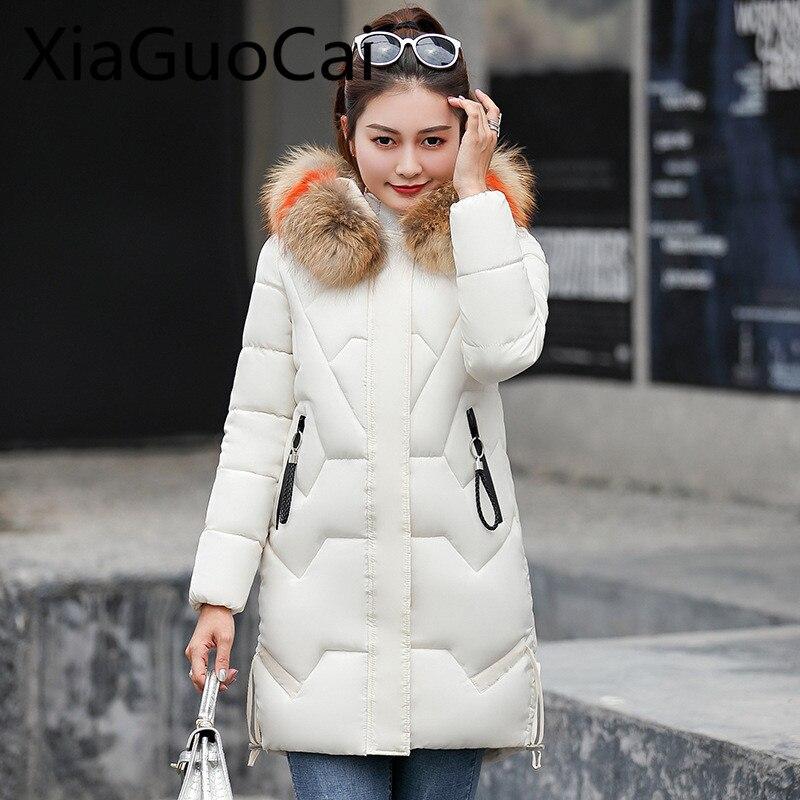 2018 abrigo de invierno para mujer Parkas de algodón acolchado abrigo largo femenino abrigos con cremallera moda mujer Abrigos chaquetas