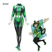 Ainiel mon héros académique disquette Tsuyu Asui Cosplay Costume Spandex Zentai Costume femmes filles body Halloween enfants et adultes