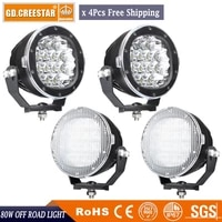 super bright round led driving lights 80w front bumper grille guards spotlights for offroad wrangler jk tj yj pickup 4wd x4pcs